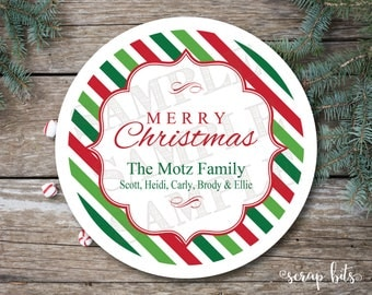 Merry Christmas Center Label on Stripes Personalized Stickers, Labels or Tags
