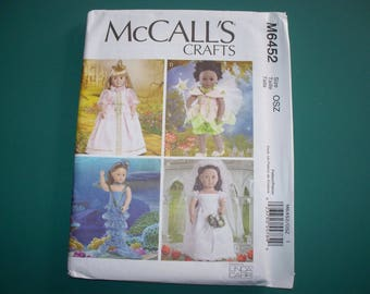 "New McCall's 18"" Doll Clothing Pattern, M6452 (Free US Shipping)"