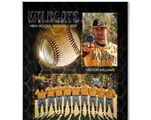 50% Off - SPORTS Memory Mate - Honeycomb Baseball - (1)  8x10 Digital Photoshop Template (Vt) for Sports Photographers.