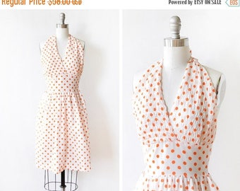 20% OFF SALE polka dot halter dress, vintage 60s dress, white and orange polka dot dress, extra small xs