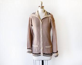 brown striped cardigan, vintage 70s cardigan, 1970s button up sweater, knit cardigan sweater, small medium sm