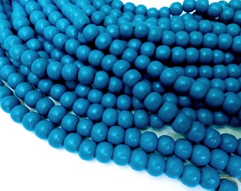 Blue wood round beads - Blue Wooden Dyed Beads 10x9mm - 30pcs  (PB222D)