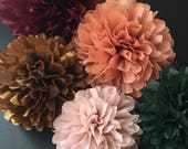 ROSE and COPPER set of 5 tissue paper poms kit / romantic vintage wedding decorations engagement party / metallic copper rose gold nursery
