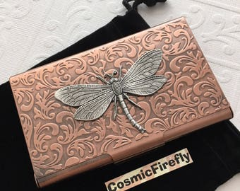 Copper Card Case Dragonfly Card Case Steampunk Card Case Business Card Holder Gothic Victorian Card Wallet Handcrafted Dragonfly Card Case