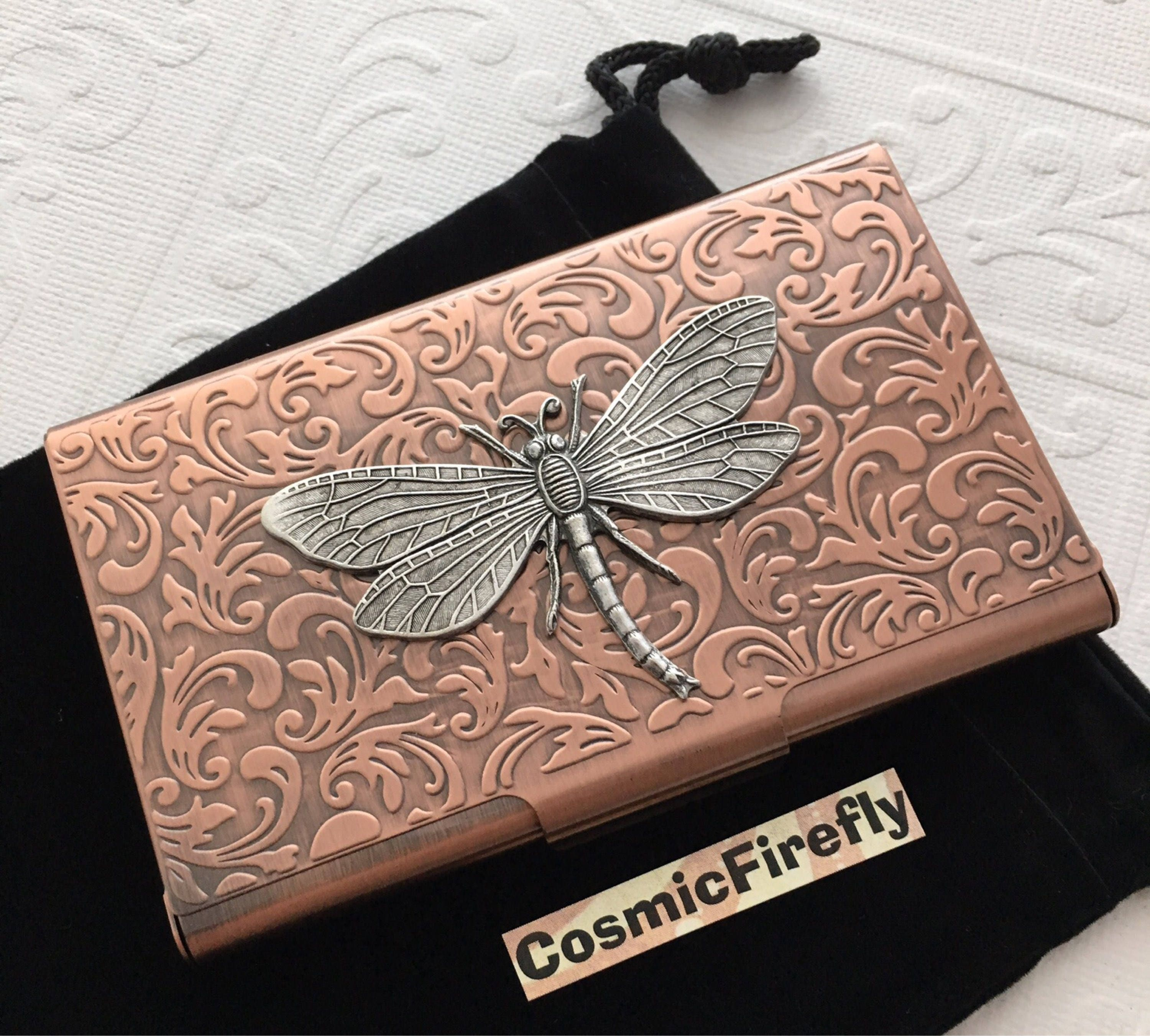 Copper Card Case Dragonfly Card Case Steampunk Card Case Business