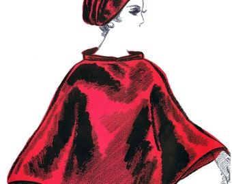 Vintage Sewing Pattern Rainy Day Cap-Cape Waterproof 1970's PDF Instant Reproduction Download Average Head Size 22 Inches