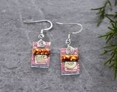 Coral Shimmer, Gold and Black Cherry Art Deco Dichroic Glass Earrings...