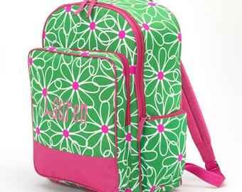 Monogrammed Green Daisy Backpack