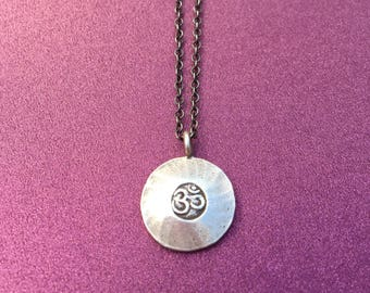 Om Charm Necklace- Yoga Necklace- Hill Tribe Silver- Oxidized Silver Chain