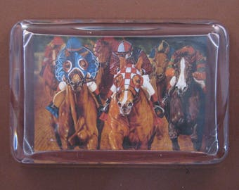 Horse Racing Large Rectangle Glass Paperweight Equestrian Home Decor