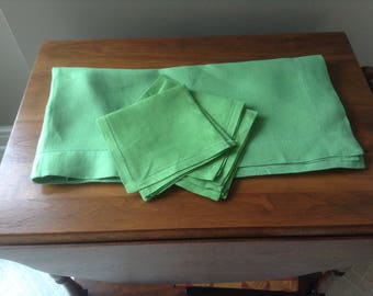 Vintage Avocado Green Linen Tablecloth with Napkins, Mitered Corners