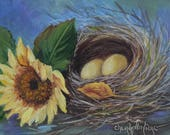 Whimsical Yellow Eggs Bird Nest Still Life Painting With Sunflower, Original Oil Painting by Cheri Wollenberg