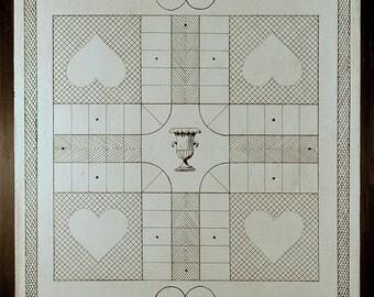Primitive Wooden Parcheesi Game Board - 051