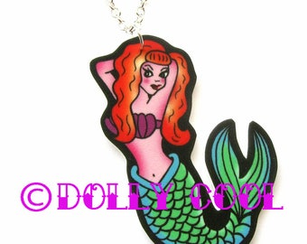 Mermaid Pinup Necklace by Dolly Cool Tattoo Style
