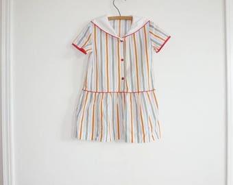 SALE // Vintage Stripe Drop Waist Dress