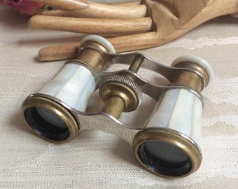 RESERVED antique mother of pearl opera glasses, adjustable mother of pearl magnifying glasses, Lamier Paris opera glasses