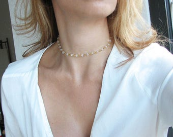 Crystal Choker Necklace Gold Choker Dainty Jewelry Iridescent Necklace