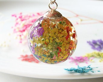 Resin Jewelry Real Flower Necklace Resin Necklace Rainbow Necklace Real Flower Jewelry
