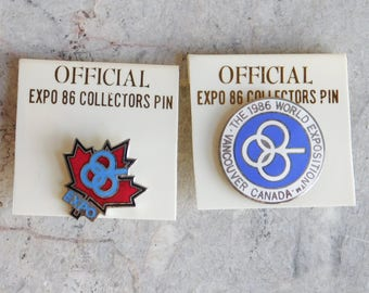 2 Official Expo 86 Collectors Pins - Vintage Enamel on Metal Collar or Hat Pins from Vancouver, Canada World Exposition - Unused Condition