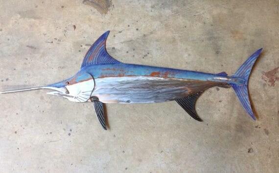 Sword Fish 48in  Metal Wall Art Fish sculpture Handmade Beach Coastal Tropical Ocean