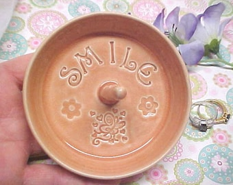 SMILE Peach Crackle Handmade Ring Dish Butterfly design