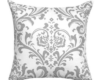 Gray Damask Throw Pillow - Traditions Storm Gray Decorative Pillow - Free Shipping