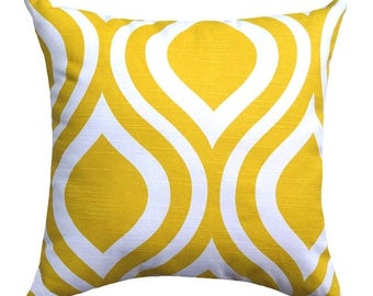 Premier Prints Emily Corn Yellow and white Ogee Double Sided Decorative Throw Pillow - Free Shipping