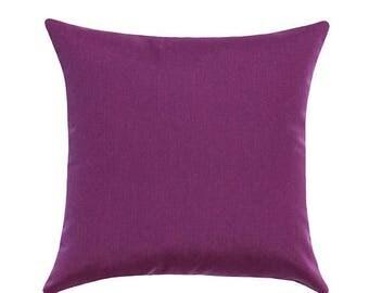 Purple  Outdoor Pillow, Sunbrella Iris Outdoor Pillow, Sunbrella Patio Pillow, Purple Outdoor Cushion, Purple Decor Free Ship