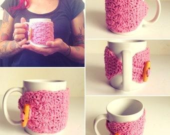 Pink Cotton Coffee Mug Cozy, ready to ship.