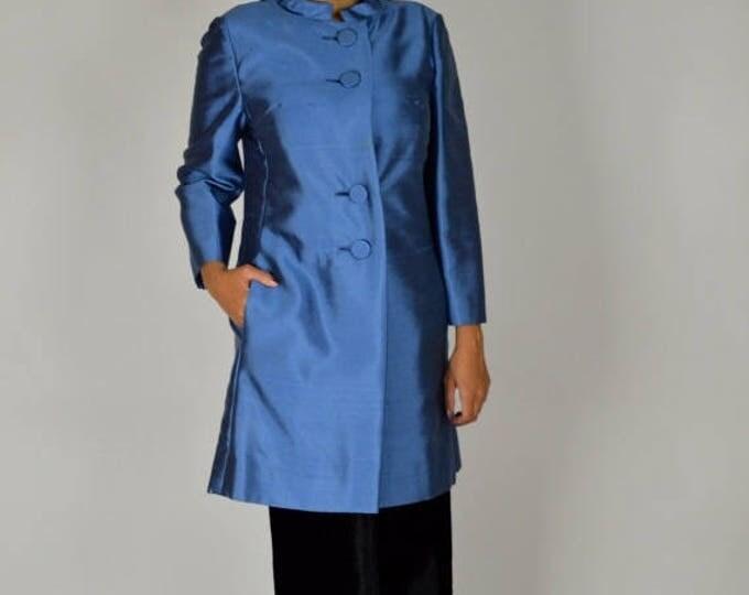 sale Vintage Coat, Blue Coat, Spring Coat, Evening Coat, Theater Coat, Asian Style,  60s Coat, Chic Coat, Gino Rossi, Mother of the Bride Co