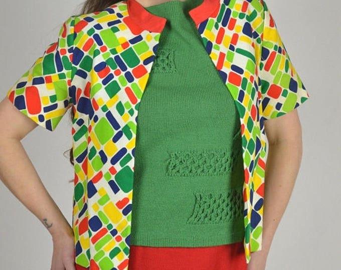 sale Vintage Jacket, Multicolored Jacket,  Summer Jacket, Vintage 70s Clothing, Short Sleeve Jacket, Office Jacket, Bright Jacket