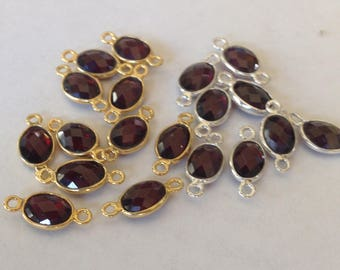 Garnet Gemstone Link Connectors, Bezel,  mm, sterling silver or 24k gold vermeil, double bail small oval sgc gcl2.B