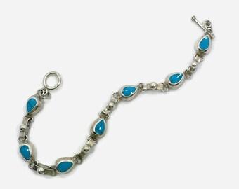Turquoise Bracelet, Sterling Silver, Vintage Bracelet, Mexico, Silver Bracelet, Links, Linked, 925, Bohemian, Southwestern, Layering, Stack