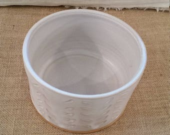 Large Dog Water or Food Bowl: Handmade Pottery, White Matte Glaze, Tan Clay Body - OOAK!
