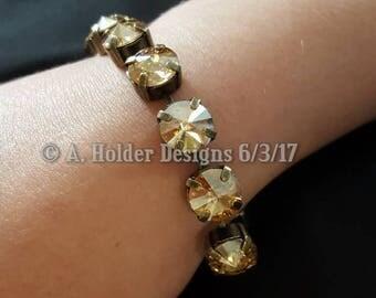 Crystal Bracelet - Golden Shadow Rivoli Swarovski Crystals - 10 mm stone size