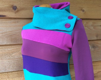 Hoodie Sweatshirt Sweater Handmade Recycled Upcycled One of a Kind Ladies SMALL - Cute Pockets SHY VIOLET