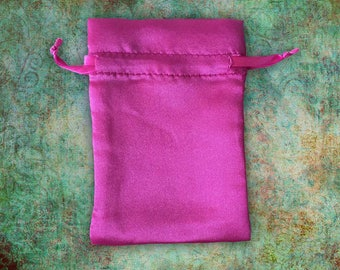 Satin Pink Wedding Favor Bags 4x6 | Jewelry Pouch Craft Show Packaging | Jewel Tones Hot Pink | Wholesale Destash Sample Sale 29 4x6 Bags