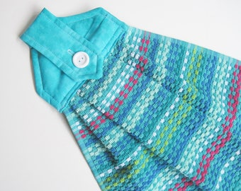 Hanging kitchen towel  button top Bright  Turquoise teal blue  towel  cotton top