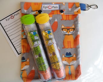Fox Epi Pen Carrier XL 6x8 w/ Clear Pocket and Clip Holds 2 Allergy Pens Antihistamine First Aid Medical Card Included