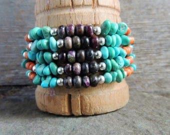 30% OFF CIJ Southwestern Multi Strand Bracelet, Turquoise Cuff Bracelet, Artisan Jewelry, Handcrafted Silver Ring, Rustic Chic Jewelry, Casu