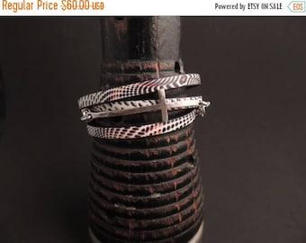 30% OFF CIJ Leather Cuff Bracelet, Stacking Bracelet, Wrap Bracelet, Silver Cross Link, Artisan Jewelry, Rustic Handcrafted, Minimalist Jewe