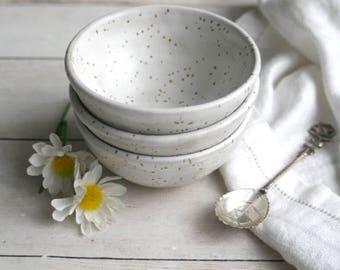 Three Small Rustic Speckled Bowls In Matte White Glaze Ceramic Bowls Ready to Ship Made in USA