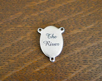 The River, Custom Laser Engraved Stainless Steel Connector Charm CC656
