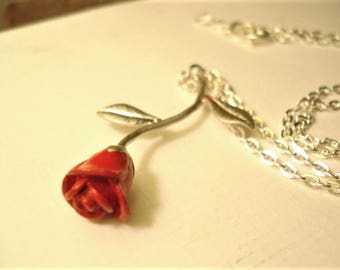 Red Rose Necklace Red Rose Pendant Gift for Girlfriend Red Long Stemmed Rose Necklace Red Rose Jewelry Gift for Her