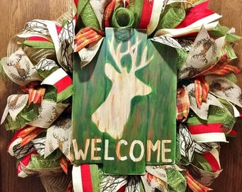 SALE & FREE SHIPPING Welcome Deer Hunting Antlers - Welcome Door Wreath