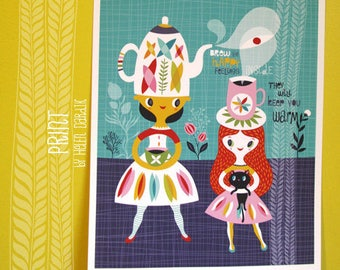 brew happy - limited edition giclee print of an original illustration (8 x 10 in)