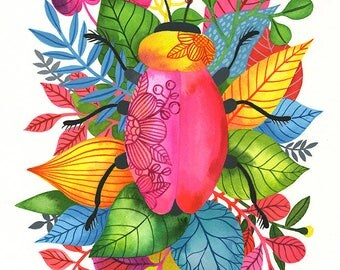 Love Bug... - limited edition giclee print of an original watercolor illustration (8 x 10 in)