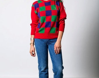 40% OFF The Red Purple Green Checkered Golf Pullover Sweater