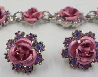 Pink Roses - Gorgeous - Rhinestones - Bracelet - Pierced Earrings - Matching set - Silver Tone Metal - 1980 Era