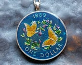 Bermuda - Butterfly Coin Pendant - Hand Painted